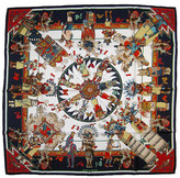One Kings Lane Vintage Hermes Kermit Oliver Kachinas Scarf - The Emporium Ltd. - navy/white/multi