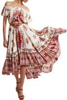 Azbro Women's Boho Slash Neck Off Shoulder Floral Print High Low Dress, colored XL