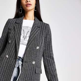 River Island Womens Grey herringbone check button blazer