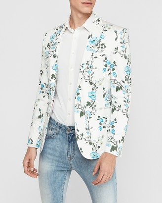 Express Extra Slim White Floral Tuxedo Jacket