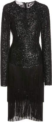 Michael Kors Fringed Sequined Tulle Dress