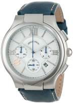 Philip Stein Teslar Men's 45-CRSIL-CSTN Round Silver Chronograph Dial Navy Stitched Calf Strap Watch