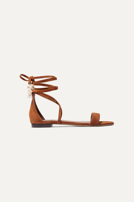 Tabitha Simmons Nellie Embellished Suede Sandals - Tan