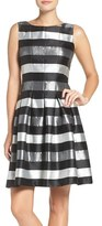 Chetta B Women's Stripe Metallic Woven Fit & Flare Dress