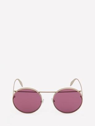 Alexander McQueen Metal Round Piercing Sunglasses
