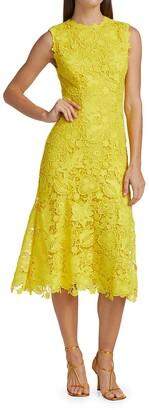 Monique Lhuillier Sleeveless Floral Lace Midi-Dress