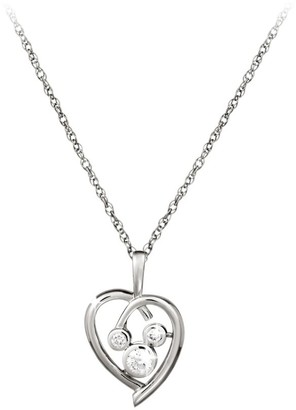 Disney Mickey Mouse Necklace Platinum Heart