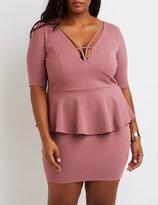 Charlotte Russe Plus Size Caged Peplum Dress
