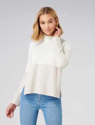 Forever New Sapphire Colour Block Jumper - Porcelain/ Oatmeal - l