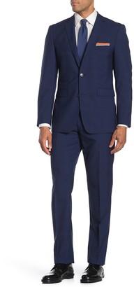 Vince Camuto Navy Plaid Slim Fit 2-Piece Suit