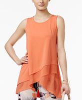 Alfani Petite Crossover-Hem Swing Top, Created for Macy's