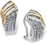 Macy's Sterling Silver and Diamond Twist Earrings in 14k Gold (1/2 ct. t.w.)