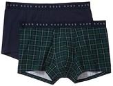 HUGO BOSS 2-Pack Trunks Pattern/Solid Gift Box (Green Plaid/Navy) Men's Underwear