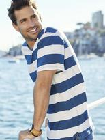 Jeanswest Mick Short Sleeve Stripe Crew Tee-White/Indigo-S
