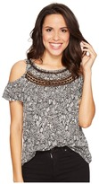 Lucky Brand Cold Shoulder Crochet Top Women's Clothing