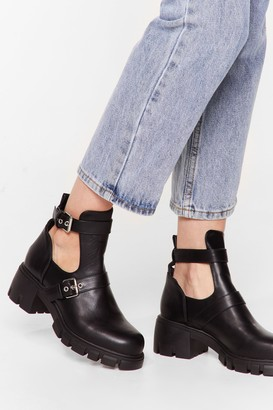Nasty Gal Womens Cut-Out of Their League Faux Leather Chunky Boots - Black