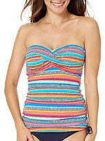 Anne Cole Triangle Stripe Twist Bandeau Tankini Top