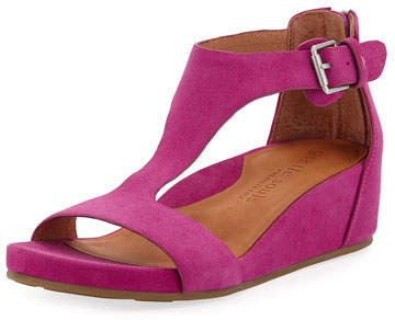 Gentle Souls Gisele Suede Demi-Wedge T-Strap Sandals