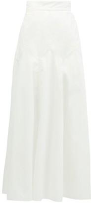 Three Graces London Aria Panelled Cotton-poplin Midi Skirt - White