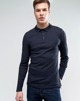 Asos Extreme Muscle Long Sleeve Polo Shirt In Heavy Rib In Gray
