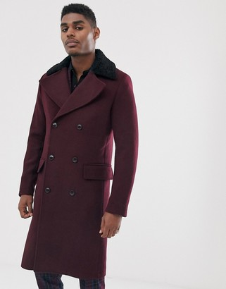 Devils Advocate premium wool blend oversized double breasted faux fur collar over coat-Purple