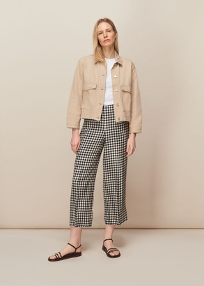 Gingham Linen Cropped Trouser
