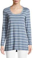 Lafayette 148 New York Striped Featherweight-Jersey Long-Sleeve T-Shirt