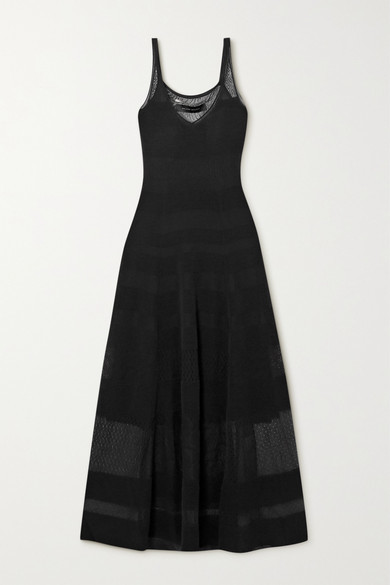 Thumbnail for your product : Roland Mouret Cetina Patchwork Stretch-knit Maxi Dress - Black
