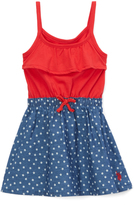 U.S. Polo Assn. Engine Red Americana Stars Sleeveless Dress - Infant & Toddler