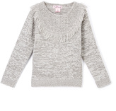 Pink Angel Gray Twist Fringe-Yoke Sweater - Infant & Girls