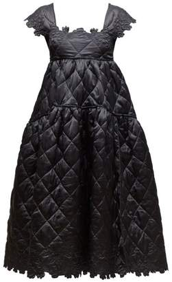 Cecilie Bahnsen - Tove Square-neck Quilted Silk-satin Midi Dress - Womens - Black