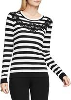 Vince Camuto Lace Appliqué Stripe Sweater