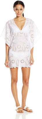 Vix Women's Solid Lace V-Neck Caftan Cover Up