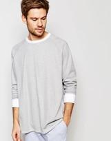 Asos Loungewear Oversized Stripe Long Sleeve T-Shirt In Gray