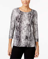 JM Collection Metallic Snake-Embossed Top, Created for Macy's