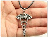 Nobrand No brand fashion silver tone angel snake pendant leather chain necklace