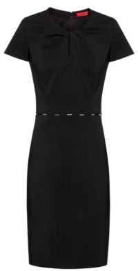 HUGO BOSS Hardware Trimmed Dress In Worsted Stretch Wool - Black