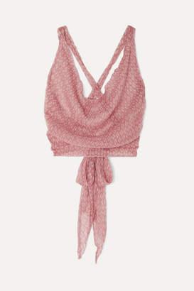 Santi Cloe Cassandro Cropped Printed Silk-crepon Wrap Top - Pastel pink