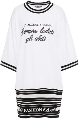 Dolce & Gabbana Jacquard-trimmed Printed Cotton-jersey Mini Dress