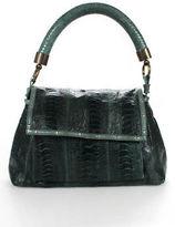 R & Y Augousti R&Y Augousti Green Ostrich Leg Skin Flap Medium Shoulder Handbag