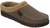 Dearfoams Men's Twill and Microsuede Moc Toe Clog Slipper