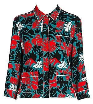 Marni Women's Abstract Leaves Pajama Jacket Top