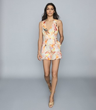 Reiss FLORIPA Floral-print linen playsuit Multi