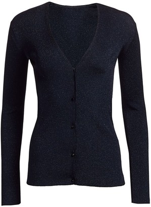 St. John Evening Sparkle Ribbed Knit Cardigan