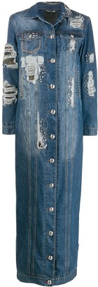 Philipp Plein Distressed Denim Coat