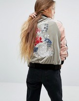 Glamorous Embroidered Bomber Jacket In Velvet