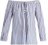 Velvet by Graham & Spencer Jene off-shoulder striped cotton top