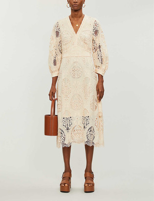 Maje Floral lace midi dress