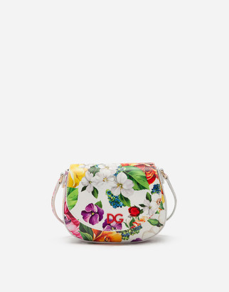 Dolce & Gabbana Patent Leather Side Bag With Floral Print