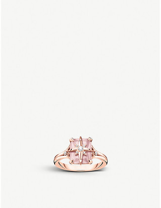 Thomas Sabo Magic Stones Star 18ct rose gold-plated sterling silver and rose quartz ring